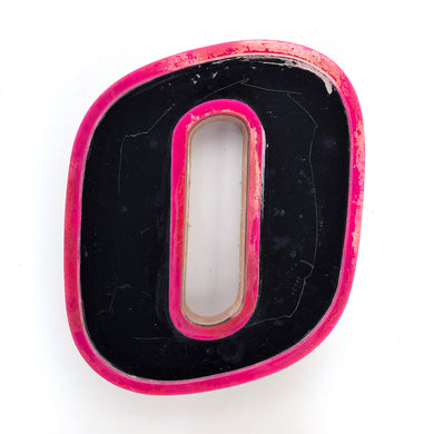 O  - Medium Factory Shop Letter Ply Wood & Perspex - Black and Pink