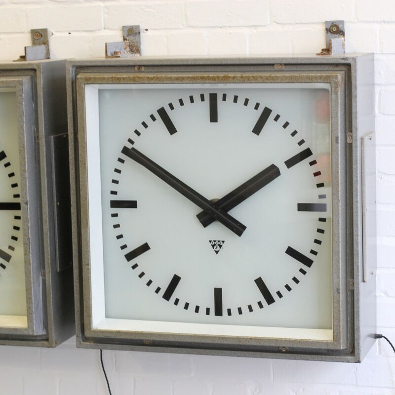 Large 1950s Light Up Factory Clocks By Pragotron