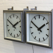 Load image into Gallery viewer, Large 1950s Light Up Factory Clocks By Pragotron