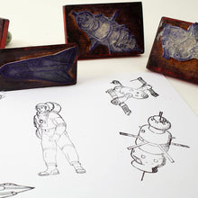 Load image into Gallery viewer, Set Of Six Vintage Polish Aviation & Space Themed Rubber Stamps