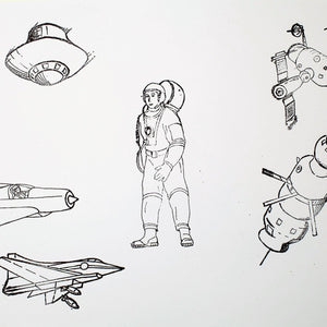 Set Of Six Vintage Polish Aviation & Space Themed Rubber Stamps