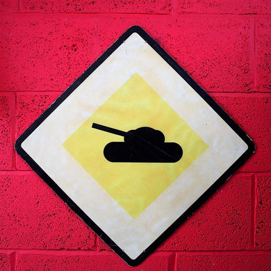 Vintage Polish Wall Sign With Tank Design