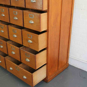 1930s Large Bank Of French Art Deco Filing Drawers