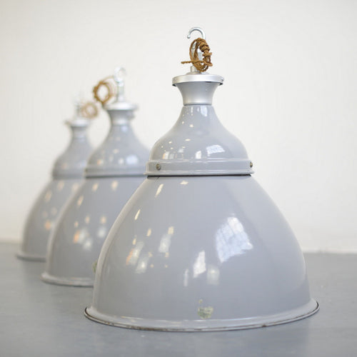 Large Grey Enamel Benjamin Factory Lights Circa 1950s