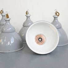 Load image into Gallery viewer, Large Grey Enamel Benjamin Factory Lights Circa 1950s