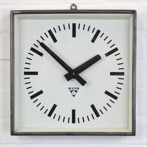 Polished Mid Century Factory Clocks By Pragotron