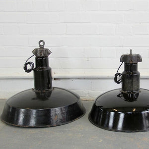 1920s Large German Industrial Factory Pendant Lights