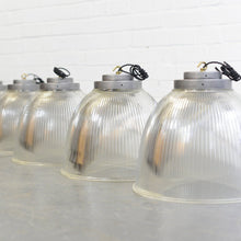 Load image into Gallery viewer, Large Industrial Holophane Pendant Lights Circa 1950s