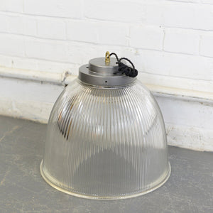 Large Industrial Holophane Pendant Lights Circa 1950s