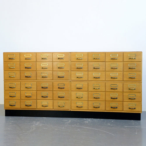 Bank Of Light Oak Filing Drawers Circa 1950s