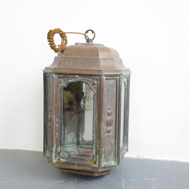 French Art Nouveau Copper Lantern Circa 1900