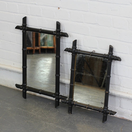 Pair Of Ebonised Faux Bamboo Mirrors Circa 1900 - A