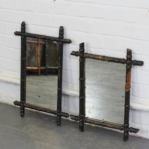 Pair Of Ebonised Faux Bamboo Mirrors Circa 1900 - B