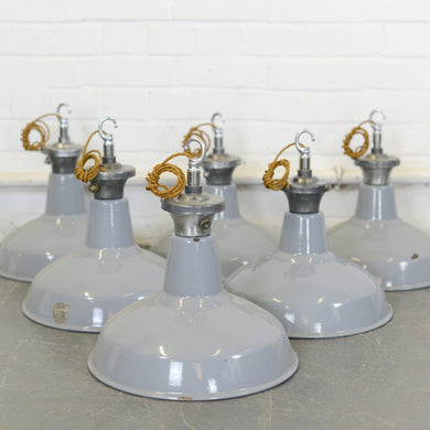 Grey Factory Lights By Benjamin Circa 1950s