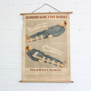 1950s Polish Canvas First Aid Chart - Broken Leg