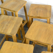 Load image into Gallery viewer, Mid Century Beech School Lab Stools Circa 1950s