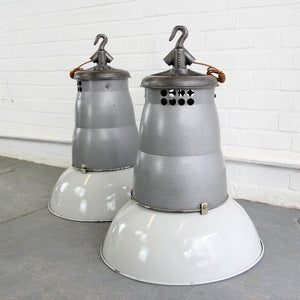 1930s Oversized French Industrial Pendant Lights