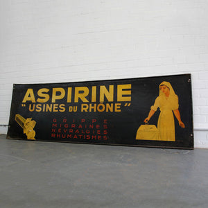 Early C20th French Hand Painted Aspirine Sign