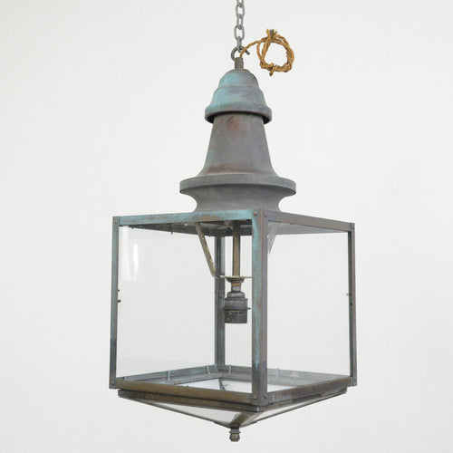 English Verdigris Copper Lantern Circa 1920