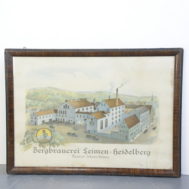 Framed Picture Of Heidelberg Brewery 1920s