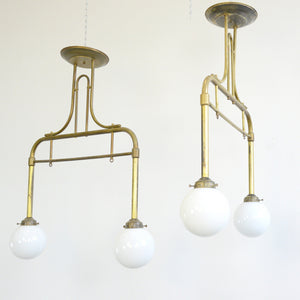German Brass & Opaline Cafe Lights Circa 1940s