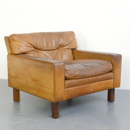 Mid Century Swedish Leather Tub Chair Circa 1950s