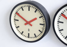 Load image into Gallery viewer, Red Handed Textile Factory Clocks Circa 1950s