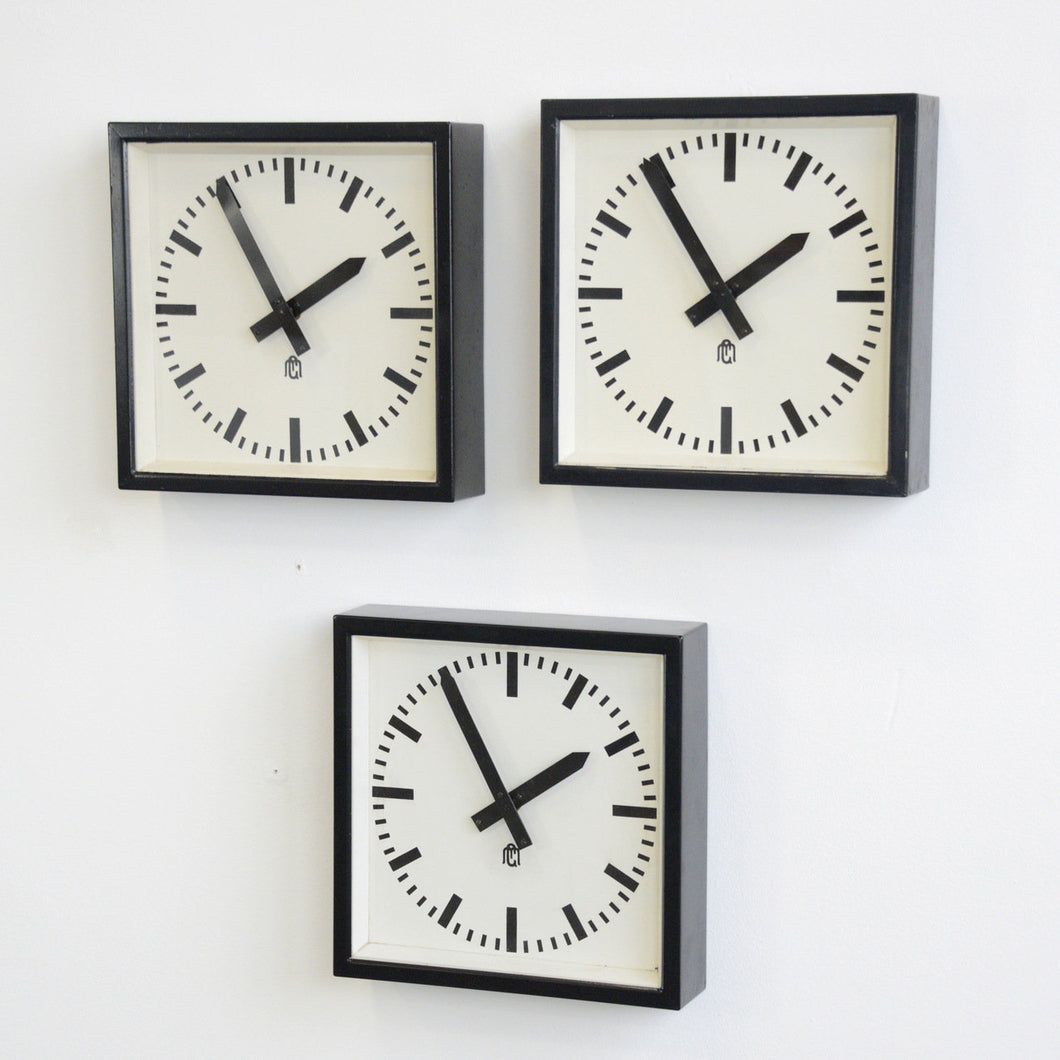 Square Textile Factory Clocks Circa 1950s