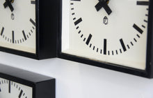Load image into Gallery viewer, Square Textile Factory Clocks Circa 1950s