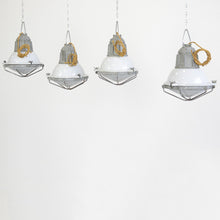 Load image into Gallery viewer, Swedish Grey Porcelain Industrial Lights Circa 1950s