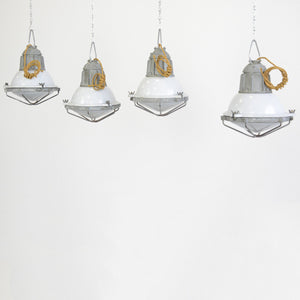Swedish Grey Porcelain Industrial Lights Circa 1950s