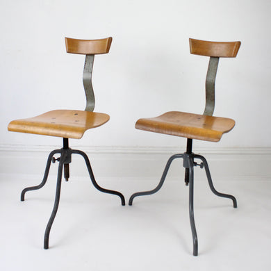 1920s Vintage Industrial Factory Chairs