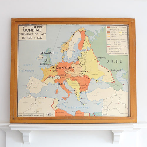 French Double Sided School Map by Rossignol - WWII
