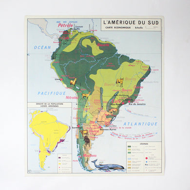 Vintage double sided MDI French school map - South America & Africa
