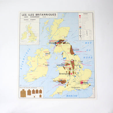 Vintage double sided MDI French school map - UK & USA