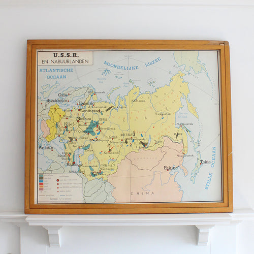 Original Dutch Educational Double Sided School Map by Rossignol - Russia
