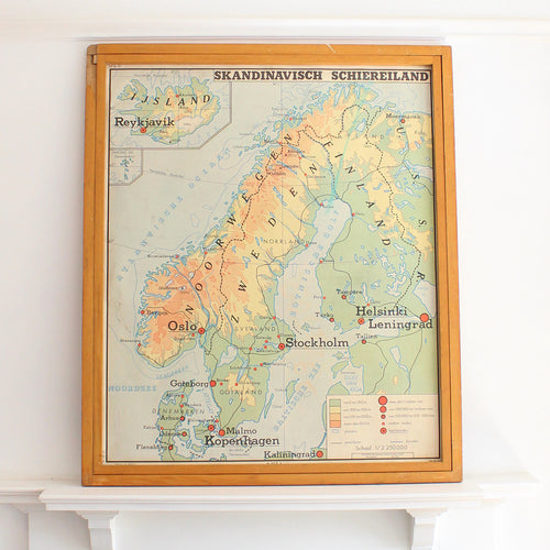 Original Dutch Educational Double Sided School Map by Rossignol - Scandinavia and Balkan Peninsulas