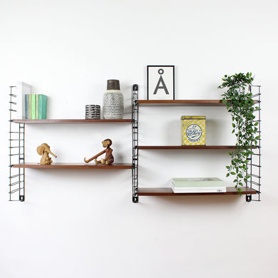 Original Mid Century Wooden String Shelves by Tomado - Holland