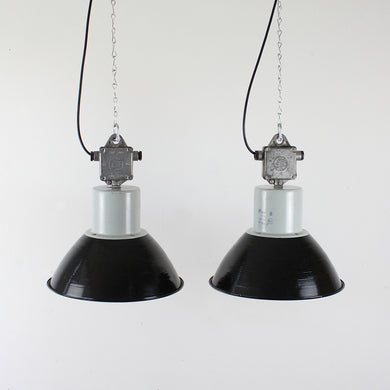 Large Industrial Black Enamel Factory Lights