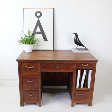French Vintage 1930s Wooden Desk