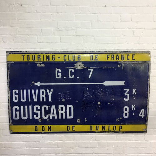 Original Vintage Enamel French Cycling Road Sign