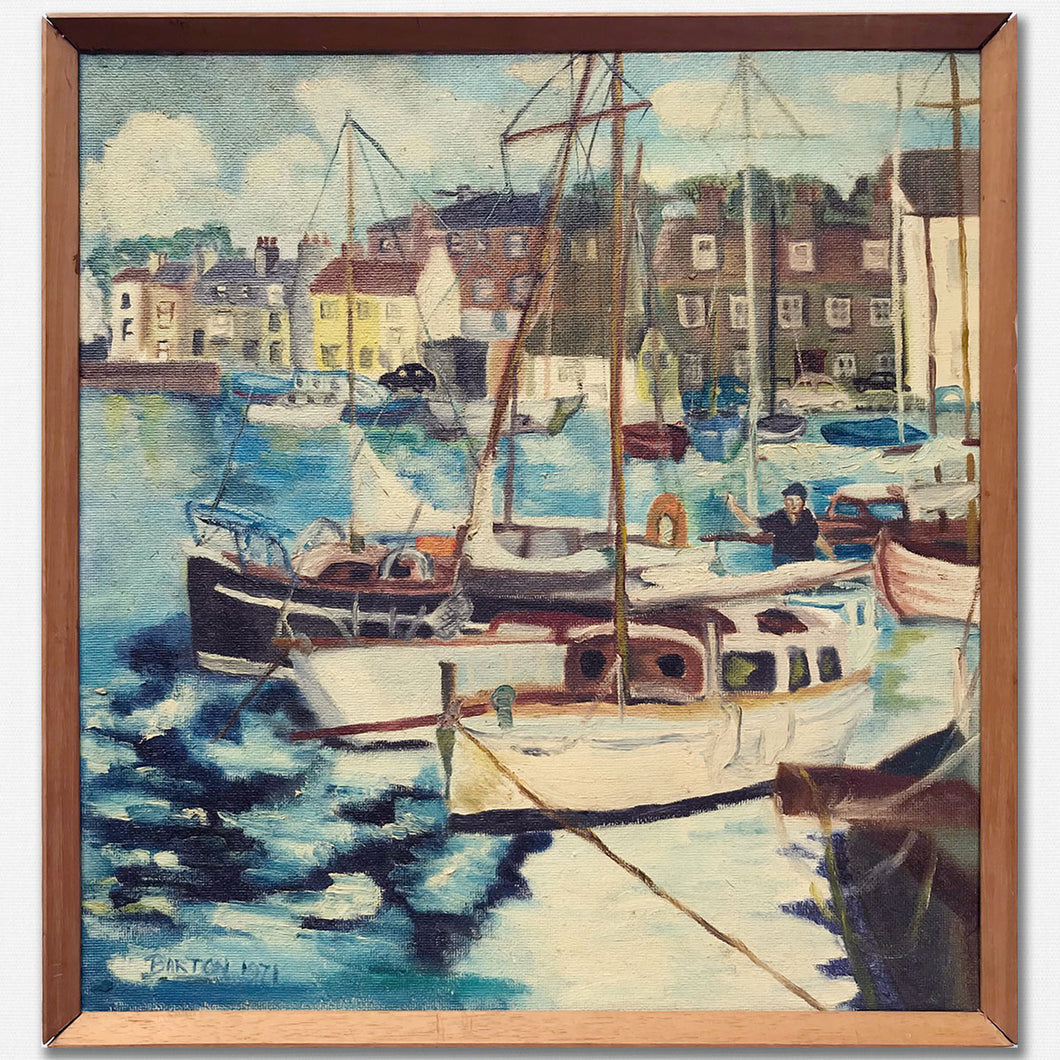 Harbour Scene - Oil on Board - 1971