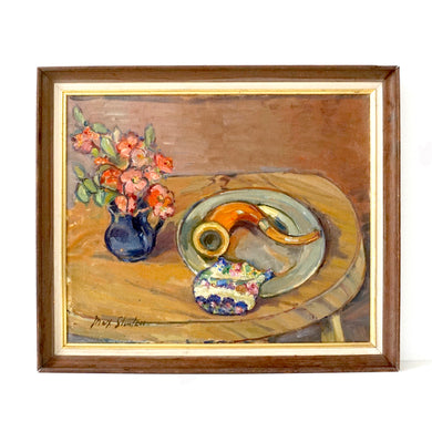 Vintage Scandinavian Oil Painting 'Still Life With Pink Flowers, Tobacco Pipe & Pouch' By Max Stenzer