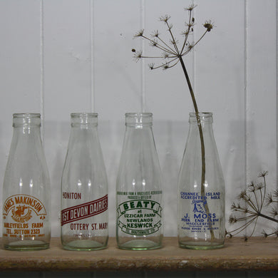 Vintage Milk Bottles -Red Label