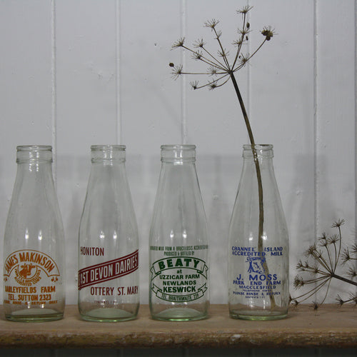 Vintage Milk Bottles -Green