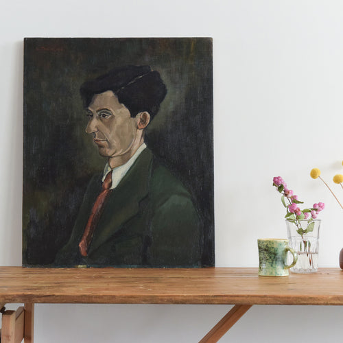 Vintage 1952 Original Oil on Board Portrait Painting entitled 'J.B. Layfield' by Artist Wilfred Taylor
