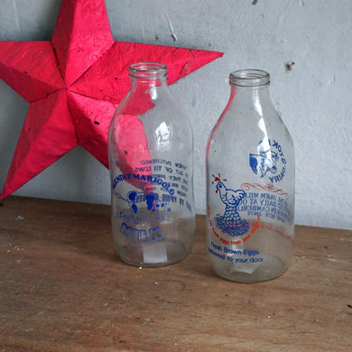 Pair of Vintage Milk Bottles