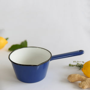Vintage Small French Blue Enamel Sauce Pan