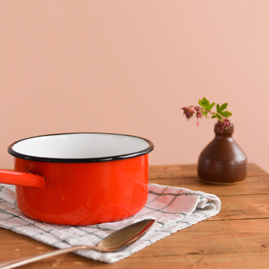 Vintage French Red Enamel Pan