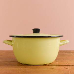 Vintage Small Yellow Enamel Cooking / Stewing Pot with Lid